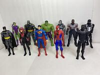 12 Inch Action Figure Lot Of 10 Marvel Batman Superman Iron Man Hulk Spoderman