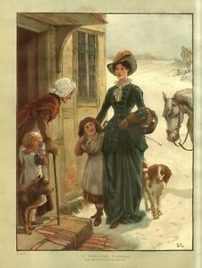 RURAL COUNTRY LIFE MOTHER AND DAUGHTER VISIT ELDERLY NEIGHBOR AND CHILD DOGS