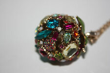 Betsey Johnson Jewelry Calypso Betsey Ball Crystal & Fruit Pendant Necklace  NWT