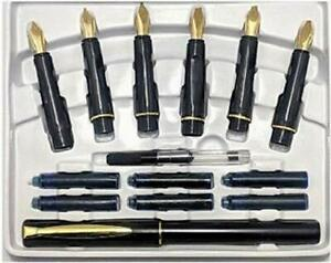 Calligraphy Fountain Pen Set 6 Nibs and 1 Pen 22 Carat Gold Plated Best Quality