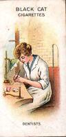 """1916 Carreras Ltd. Black Cat Cigarettes WWI Card """"Women on War Work"""" Dentists"""