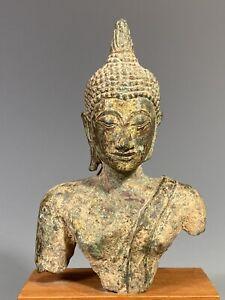 Thai Thailand Sukhothai Period Gilt Bronze Buddha Head & Partial Torso 18-19th c