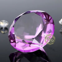 Purple Crystal Diamond Shape Paperweight Glass Gem Display Ornament Gift 40mm