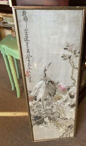 Antique Chinese silk embroidery panel Beautiful Hand Made