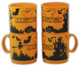 'Halloween' Orange Plastic Mugs (Set of 4)