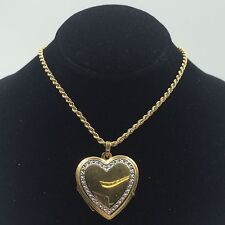 """Two-Tone 14k Gold Heart Locket Pendant on 16"""" Rope Chain"""