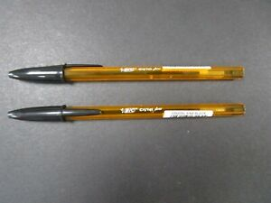 BRAND NEW PIC CRYSTAL FINE 0.8mm BALLPOINT BLACK PENS x2 (1 Buy Per Person)