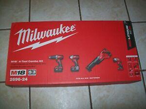 New Milwaukee 2696-24 M18 Cordless Compact Combo Tool Kit Sealed