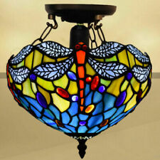 """Dragonfly Stained Glass Tiffany Style Ceiling Lamp 10"""" Shade Home Decor Lamps"""