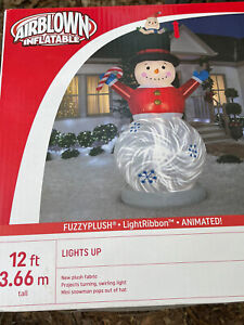 Gemmy 12' Animated Fuzzy Snowman Lighted Christmas inflatable Airblown New