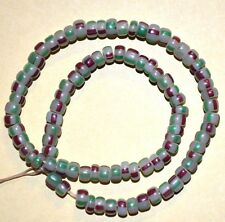 Antique Venetian Small Drawn Striped Glass Spacer Beads Found African Trade