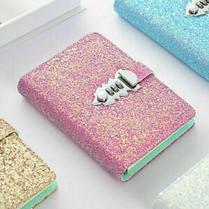 A6 Glitter Diaries Notebook PU Leather With Code Lock Secret Diary Student Gift