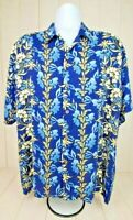 Pineapple Connection Hawaiian Shirt Blue White Floral Flower Mens L Large Rayon