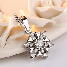 Ladies Jewelry 925 Silver Snowflake Crystal Pendant Necklace Earrings Xmas Gifts