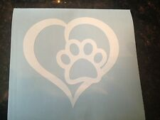 Pet Paw Print With Heart Dog Cat Vinyl Decal Car Window Yeti Jeep Bumper Sticker
