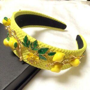 Jeweled Headband Yellow Lemon and Green Leaf Appliques Hair Accessory Free Ship