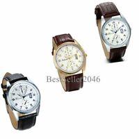 Men's Women's Quartz Analog Luxury Dial Sport Fashion Wrist Watch Leather Strap
