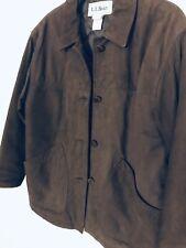 VTG LL Bean Ranch Field Coat Jacket COFFEE Brown LAMBSKIN LEATHER Womens SZ-S