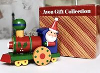 1987 Vintage Avon Christmas Train Engine Gift Collection Wooden Ornament