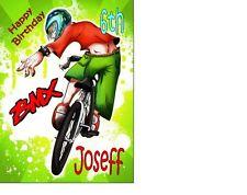 "PERSONALISED BMX Bike Stunt Xtreme Birthday Cake TOPPER 10""X8"" A4 Icing Sheet"