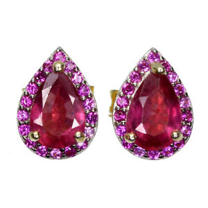 Pear Red Ruby 6x4mm Cz 14K Yellow Gold Plate 925 Sterling Silver Earrings