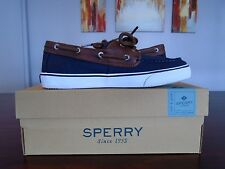 Sperry Bahama Boat Shoe New w Box Navy and Brown, Leather Lace Up Size 4M L@@K!