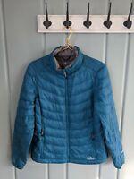 LL Bean Ultralight 850 Womens Medium Down Quilted Puffer Coat Jacket Teal Blue