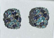 Stunning Sterling 925 ~ Multi-Gemstone ~ Cluster Shades of Blue Earrings ~ 12ctw