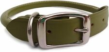 "Auburn Leather - Rolled Round Dog Collar - 16""-20"" - Green"