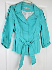Zara Basic Womens Tiffany Blue Linen 4-Button Belt Tie Front Jacket Blazer Small
