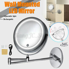 360° Adjust Double Side LED Light 10X Magnifying Makeup Mirror USB Charging
