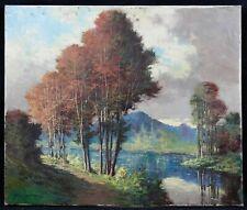 Huile sur toile représentant un paysage d'automne Lac de montagne ? signature