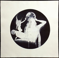 Denis B. Darby Untitled Fairy nude figure w/ moon Hand Signed Etching '77 ed 20