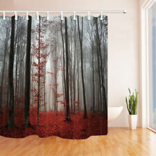 Gothic Foggy Forest Bathroom Waterproof Fabric Shower Curtain & 12 Hooks 71 inch