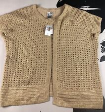 NEW Chico's Gold Foil Knit One Hook Cap sleeve cardigan sweater Size 3 (XL/16)