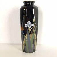 "Otagiri Japan Fine Porcelain Black Vase Floral Iris 11"" Gold Trim Octagonal"