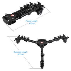 Professional Heavy Duty Camera Tripod Dolly Adjustable Leg Folding 3 wheels