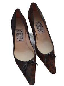 Emma Hope Black Animal Print Leather Slip On Court Heel Shoes  Size 37 UK 4