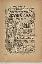 The Clandestine Marriage • Met Opera House NYC Libretto • Edward. Johnson, GM