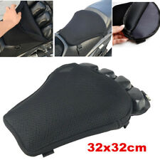 Black Motorbike Motorcycle Air Seat Cushion Breathable Non-slip Cover Pad & Pump