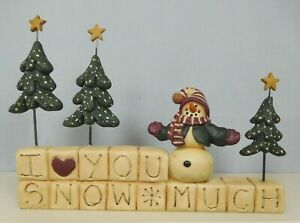 I love you snow much block with snowman & trees on top-New Blossom Bucket #80335