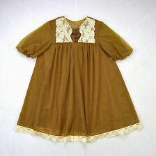 Vtg VANITY FAIR Brown Nylon Chiffon Lace Baby Doll Peignoir Nightgown Lingerie S
