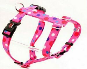 "Pink/purple/blue Polka Dot MEDIUM adjustable strap Dog Harness (collar:13""-20"")"