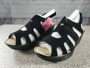 Skechers - Suede Peep-toe Slingback Wedges - Stylin' - Black - Size 11 W