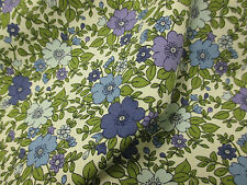 """Blue & Green """"Pastel""""  Floral/Flowers 100% Cotton  Printed Fabric."""