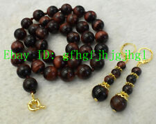 "NEW 10MM GENUINE TIGER EYE GEMS ROUND NECKLACE 18"" EARRINGS SET"