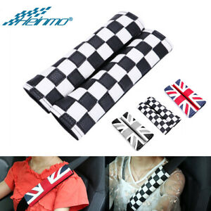 Checkered Racing Car Safety Seat Belt Cover Shoulder Cushion Pad For MINI Cooper