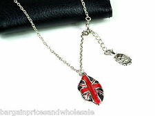 Silver England Flag  Lipstick And Charm Necklace LOng Chain Pendant Gift