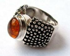 RARE 2003 SILPADA Sterling Silver .925 Beaded Amber Ring R0893 SIZE 8 RETIRED