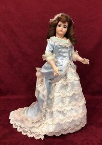 """16"""" Antique Reproduction Bisque French Fashion Doll Sandy Engle 7/97"""